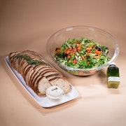 Mesclun mix, seasonal vegetables, cucumbers, carrots, house vinaigrette. Includes a side of bread.