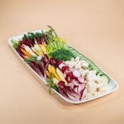 Seasonal medley of fresh cut vegetables, herb dip