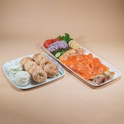 North Atlantic smoked salmon, baked salmon, smoked whitefish served with 2 kinds of cream cheese, lemon, capers, cucumber & 8 hand rolled mini bagels. Option to substitute wheat bagels for gluten free bagels at an additional cost.