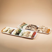 Imported & domestic assorted cheeses with dried fruit accompanied with a bread and cracker board