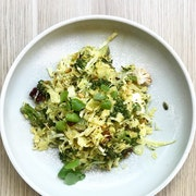 Cranberries, cabbage, coconut, pine nuts, cumin, turmeric, seeded mustard dressing