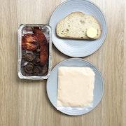Mushrooms, roasted tomato, chorizo, white pane. Cooking instructions included.
