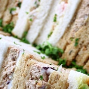 A mixture of Fishy sandwiches which serve up to 5 people including Crayfish & Rocket; Smoked Salmon, Cream Cheese & Dill; King Prawn Marie Rosee; Hot Smoked salmon & Egg Caesar; Tuna Mayo & Red Onion
