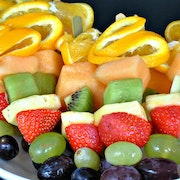 10 x Melon, kiwi, orange, strawberry, pineapple & grapes on a skewer (serves 5-10)