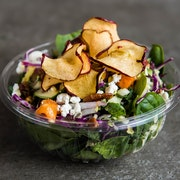 Baby spinach, power greens, roasted butternut squash, spiced pecans, red onions, goat cheese crumbles and apple crisps. Tossed with mango citrus vinaigrette  RECOMMENDED WITH ROASTED CHICKEN