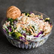 Choice of greens, choice of grains, five toppings, one cheese, one dressing   RECOMMENDED WITH ROASTED TOFU