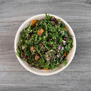 detox and power up kale, quinoa, roasted butternut squash, roasted beet, red onion, avocado, goat cheese, basil pesto, lemon tahini dressing  ADD ROASTED CHICKEN THIGHS OR BBQ TOFU