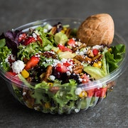 Spring mix, strawberries, fire roasted corn, spiced pecans, avocados and feta cheese. Tossed with lemon basil dressing  RECOMMENDED WITH ROASTED CHICKEN