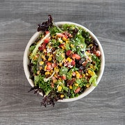 light & zesty spring mix, strawberries, roasted corn, spiced pecans, avocado, feta cheese, lemon basil dressing  ADD CHICKEN BREAST OR ROASTED CHICKEN THIGHS