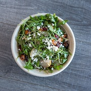 best of the season arugula, dried cranberries, goat cheese, local asian pear, roasted butternut squash, pine nuts, pomegranate seeds, pomegranate vinaigrette  ADD CHICKEN BREAST OR ROASTED CHICKEN THIGHS