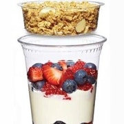 Yogurt with seasonal berries and honey almond granola