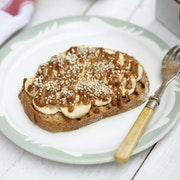date, sea salt, almond butter, banana, super seed mix, almonds, grilled multigrain toast