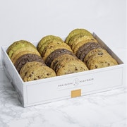Assortment of cookies: White Chocolate & Pistachio, Duo Pecan Milk & Dark Chocolate, Macadamia & Milk Chocolate, Oatmeal & Raisin, Dark Chocolate (198 - 210 cal)
