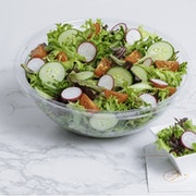 Mesclun, tomatoes, radishes, cucumbers with lemon dressing (200 cal per portion). Served with Baguette Monge (600 cal)