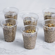 Almond milk, oatmeal, chia seeds, roasted almonds, cocoa. Served cold (220 cal per portion)