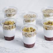 Greek yogurt, granola, raspberry coulis (130 cal per portion)