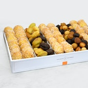 For 12 to 15 people. Large platter assorted with mini financiers, mini madeleines and chouquettes. (340 cal per portion)