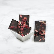 Dark chocolate tablet, topped with dried raspberries, strawberries and blueberries