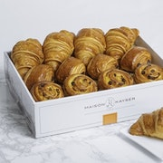 Assortment of 12 mini viennoiseries: Croissant (100 cal), Pain au Chocolat (130 cal), Pain aux Raisins (120 cal)